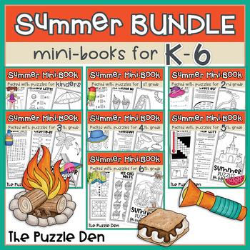 Summer Mini Puzzle Book BUNDLE for K-5