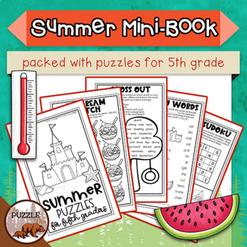 Summer Mini Puzzle Book for Fifth Graders