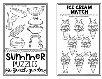 Summer Mini Puzzle Book for Fourth Graders