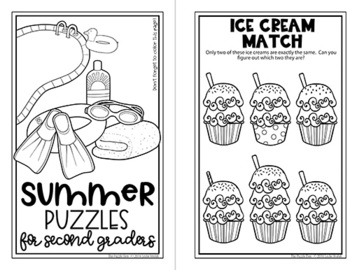 Summer Mini Puzzle Book for Second Graders