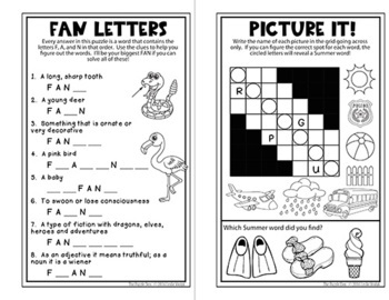 Summer Mini Puzzle Book for Third Graders