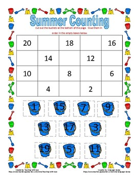 Summer Missing Numbers: Backwards from 20 - Difficult