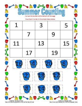 Summer Missing Numbers to 20 - Difficult