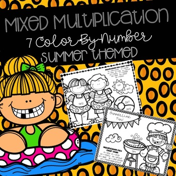 Summer Mixed Multiplication Color-By-Numbers