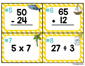 Summer Mixed Operations Task Cards {Adding, Subtracting, Multiplying, Dividing}