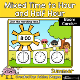 Summer Mixed Time to the Hour/Half Hour Boom Cards - Digit