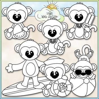 Summer Monkeys Clip Art - Monkeys At The Beach Clip Art - CU Clip Art & B&W