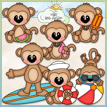 Summer Monkeys Clip Art - Monkeys At The Beach Clip Art - CU Clip Art & B&W