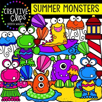 Summer Monsters: Summer Clipart {Creative Clips Clipart}