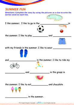 Summer - More Summer Fun - Grade 1 (with 'Triple-Track Writing Lines')