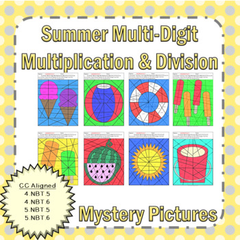 Summer Multi-Digit Multiplication and Division Mystery Pictures