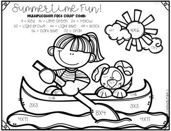 Summer Multiplication Color-By-Number BUNDLE