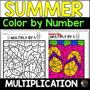 Summer  Multiplication Color by Number- 2's to 12's