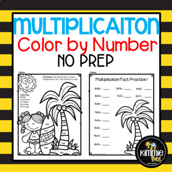 Summer Multiplication Color by Number