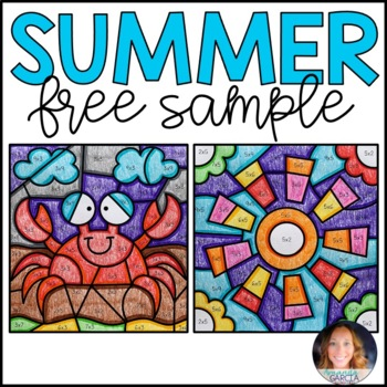 Color by Number FREE: Summer Multiplication Facts Practice