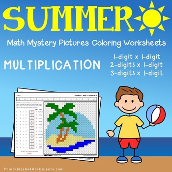 Summer Subtraction Color By Number Teaching Resources | Teachers Pay ...
