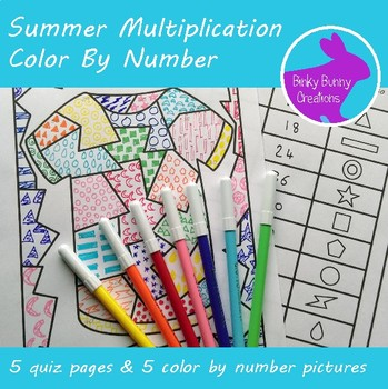 Summer Multiplication Drawing Coloring By Number Worksheet Activity
