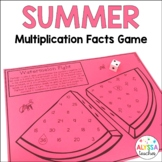 Summer Multiplication Facts Game - No Prep