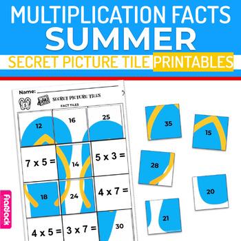 Summer Multiplication Facts Worksheets | Secret Picture Tiles