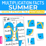 Summer Multiplication Facts Worksheets | Secret Picture Tiles