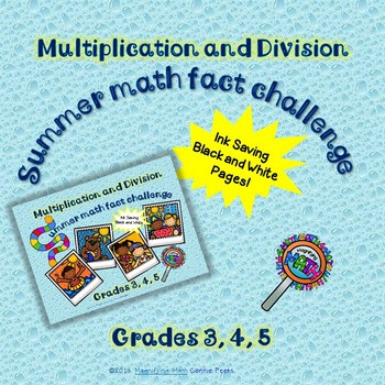 Summer Multiplication and Division Fact Activities