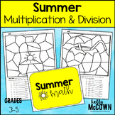 Summer Multiplication and Division Math Coloring