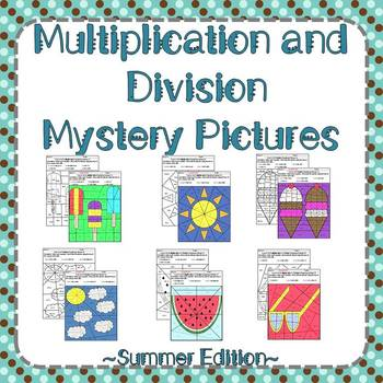 Summer Multiplication and Division Mystery Pictures