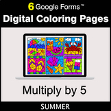 Summer: Multiply by 5 - Google Forms | Digital Coloring Pages