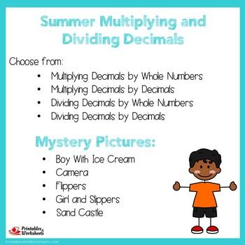Summer Multiplying and Dividing Decimals