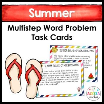 Summer Multistep Word Problem Task Cards (Grade 4)