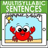 Summer Multisyllabic Sentences Syllable Segmentation Boom Cards   Speech