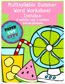 Summer Multisyllabic Word Worksheet