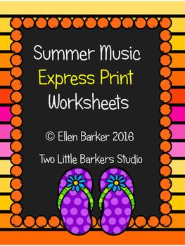 Summer Music Express Print Worksheets