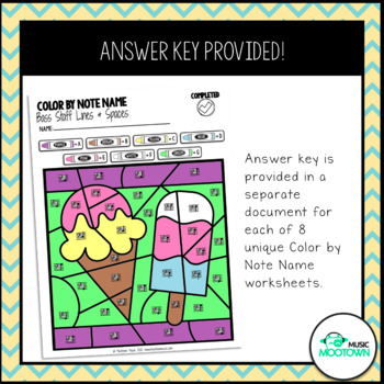 Summer Music Worksheets: Color By Note Name - Bass Staff