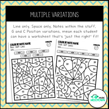 Summer Music Worksheets: Color By Note Name - Bundle