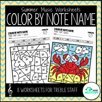 Summer Music Worksheets: Color By Note Name - Treble Staff