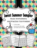 Summer Music Worksheets: Sweet Sampler FREEBIE!