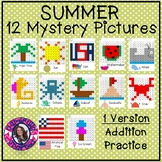 Summer Mystery Picture Addition- Hundreds Chart Addition Practice