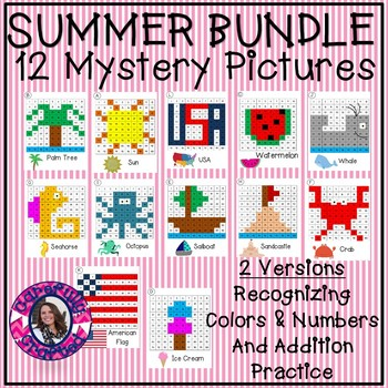 Summer Mystery Picture Bundle- Recognizing Colors and Addition