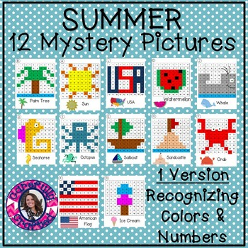 Summer Mystery Pictures- Hundreds Chart Recognizing Colors & Numbers