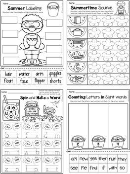 Summer NO PREP - Math & Literacy Printables (Kindergarten)