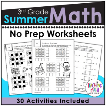 Summer Review NO PREP Math Packet - 3rd to 4th Grade