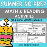 Summer NO PREP Math and Reading Activities {Print & Digital}