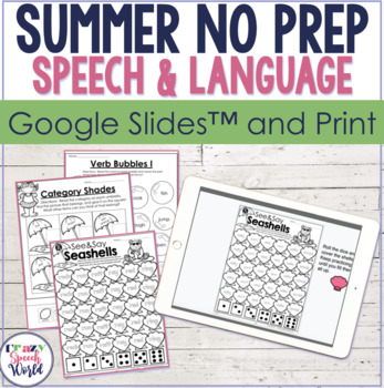 #MaySLPmustHave Summer NO PREP Speech Therapy Activities!
