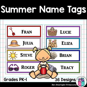 Summer Name Tags - Editable