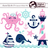 Summer, Nautical Clipart, Whale, Sailboat, Octopus, Anchor, Clip Art