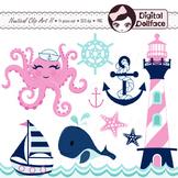Summer, Nautical Clipart, Whale, Sailboat, Octopus, Anchor