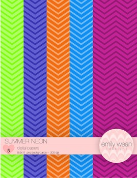 Summer Neon - Digital Paper - Chevron Background