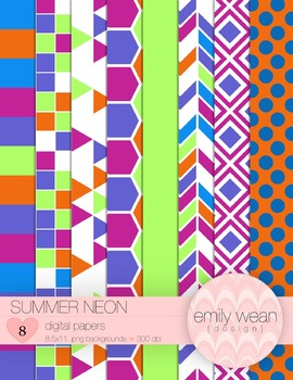Summer Neon - Digital Papers