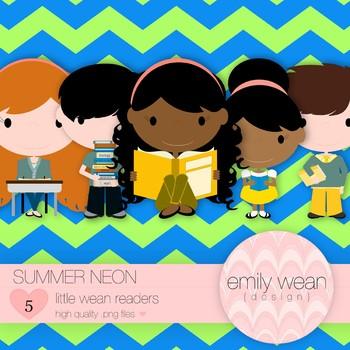 Summer Neon - Little Readers Clip Art